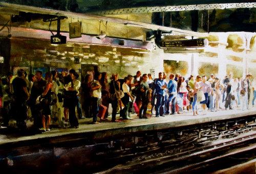 Architectural illustration - Crowd in the underground