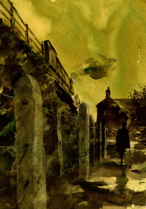 Night-time street - Watercolor painting
