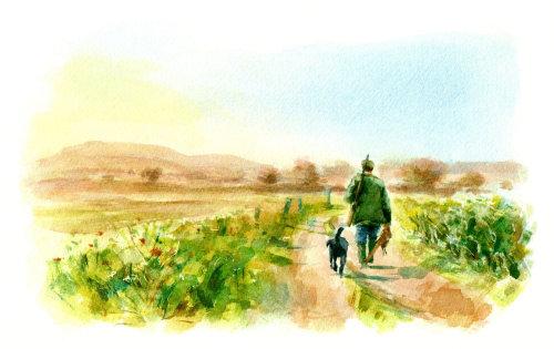 Painting of Soldier walking in field