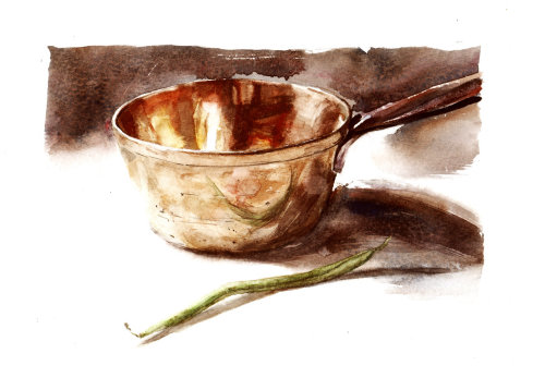 Brass pan illustration by Philip Bannister