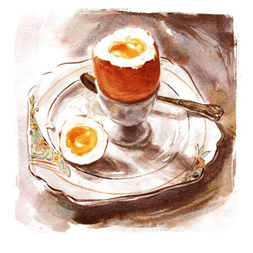 Boiled egg in a cup illustration by Philip Bannister