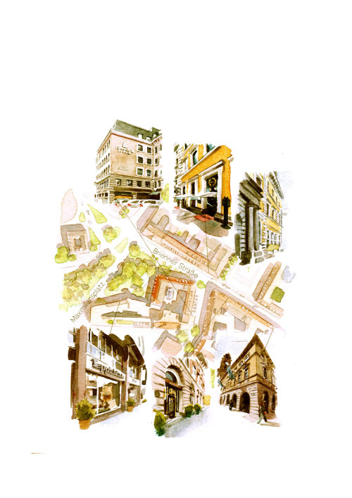Maximilliansplatz Munich illustration by Philip Bannister