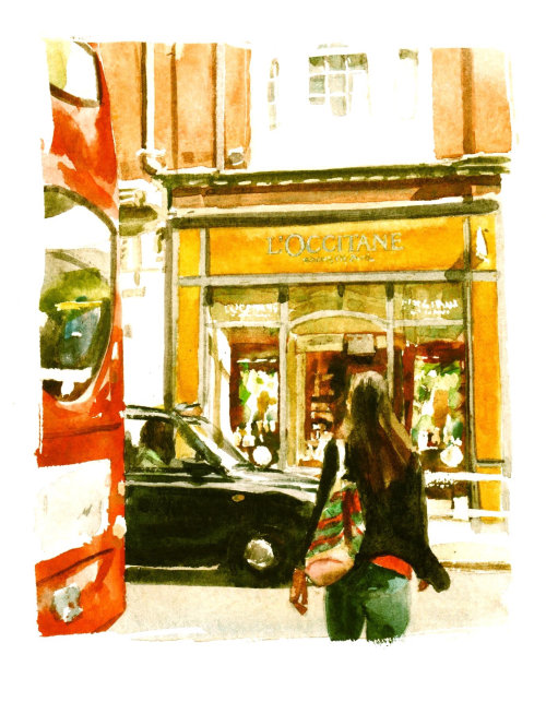 Girl crossing London street - An illustration by Philip Bannister