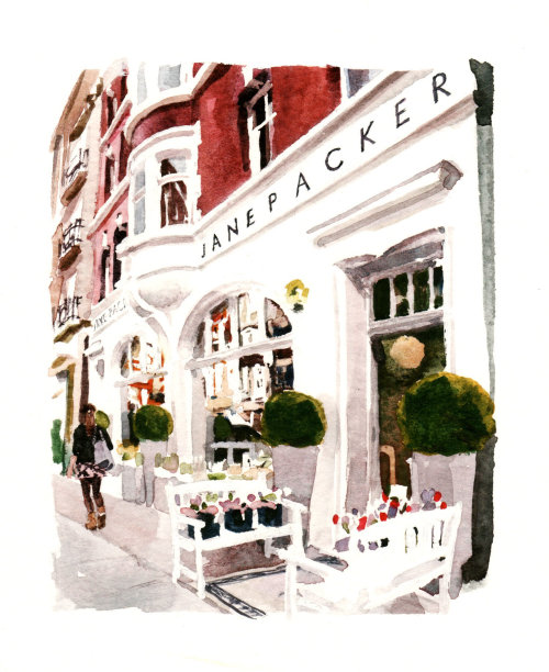 Florists shop in London - An illustration by Philip Bannister