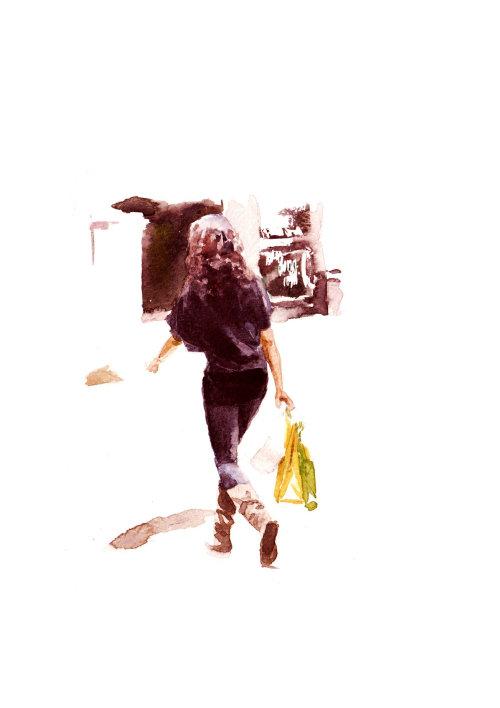 Woman walking away illustration