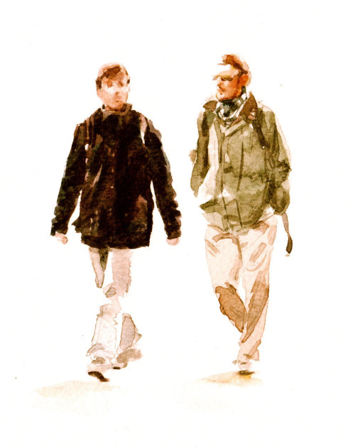 Young men in tourist mode - An illustration by Philip Bannister