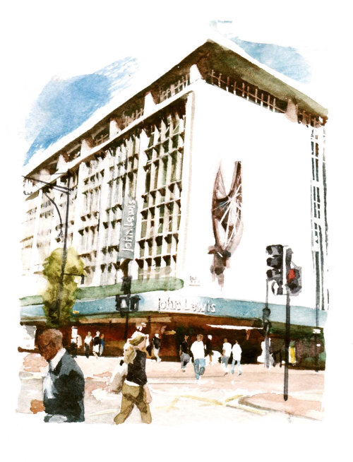 John Lewis, Oxford Street - An illustration by Philip Bannister