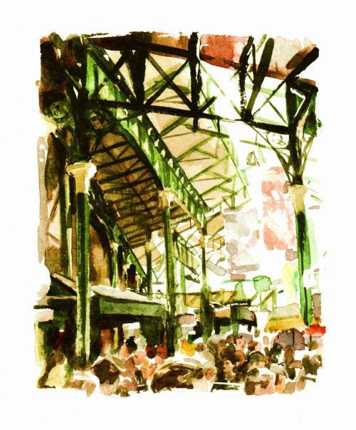 Borough market illustration by Philip Bannister