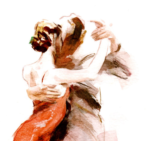 Tango dancers illustration by Philip Bannister