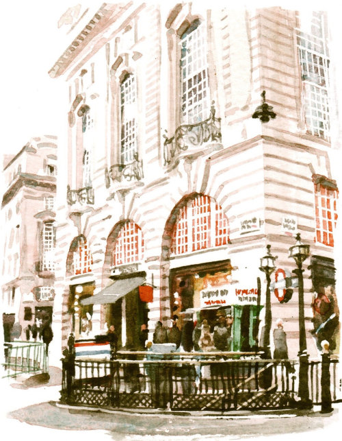 Watercolor painting of a building