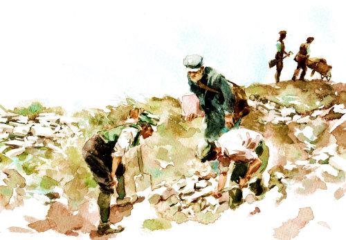 Men digging at skara brae - An illustration by Philip Bannister