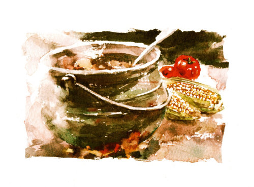 Traditional stew in an old cooking pot - Water colour artwork