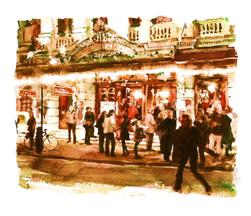 Theatre crowd illustration by Philip Bannister