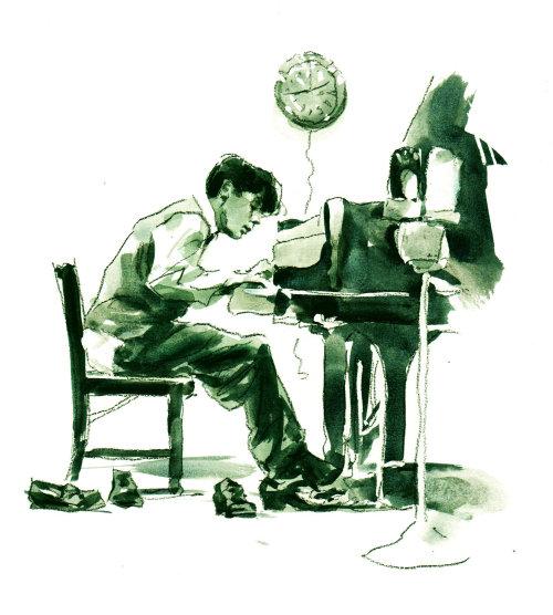 Illustration of Glenn Gould by Philip Bannister