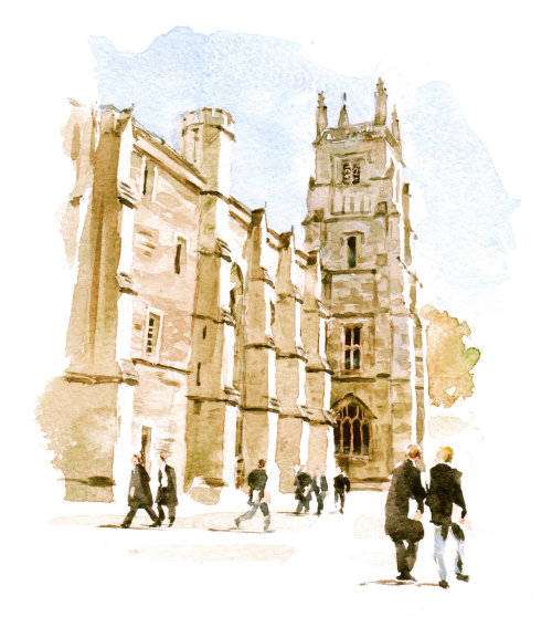 Winchester College illustration by Philip Bannister