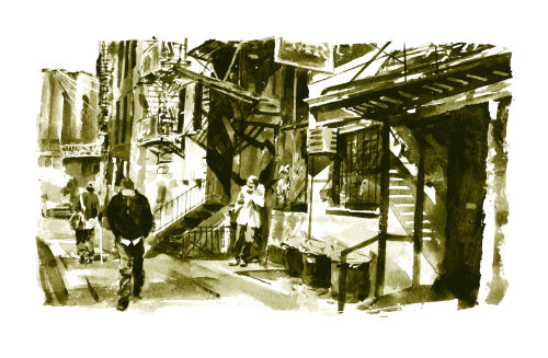 Walking in Brooklyn - An illustration by Philip Bannister