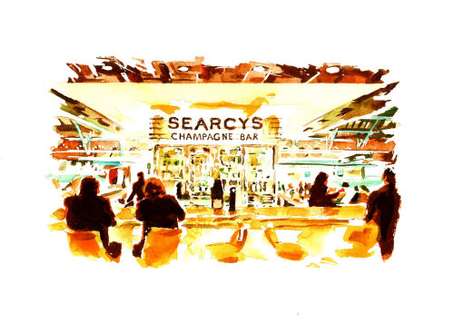 Artwork of people in the champagne bar
