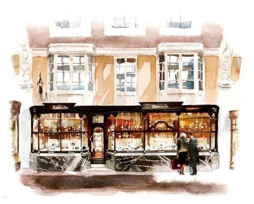 Hancocks, Burlington Arcade - An illustration by Philip Bannister