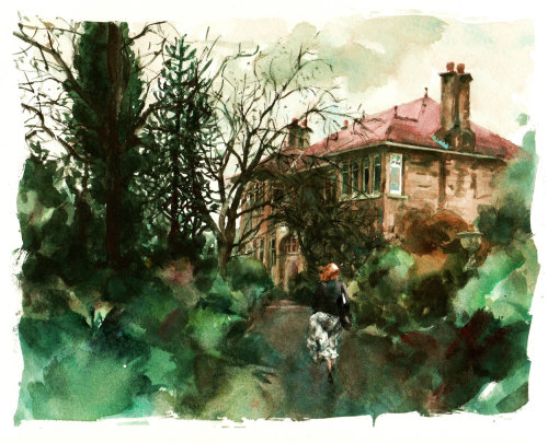 Edwardian style house - Architectural water colour illustration