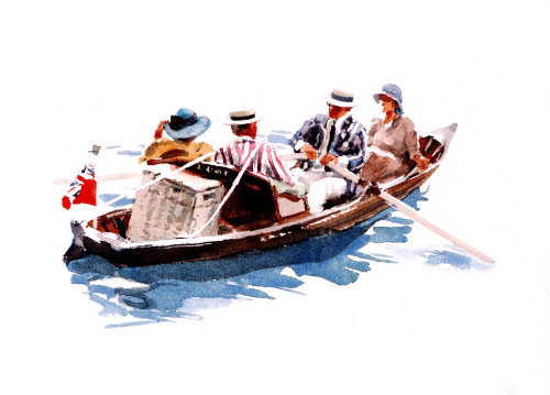 People travelling in a boat - Water colour art