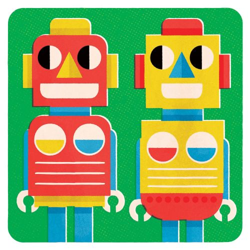 Pop art of two Robots