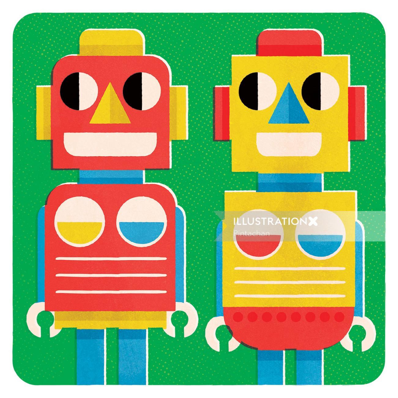 Pop art of two Robots