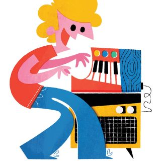Man playing piano digital illustration