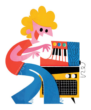 Man playing piano digital illustration