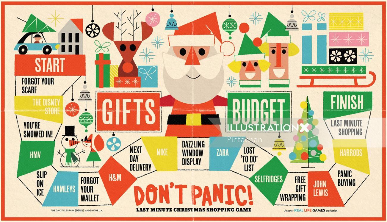 Santa illustration at Christmas time