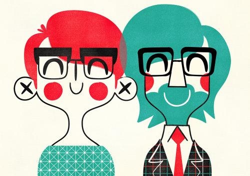Pop art of smiling people by Pintachan