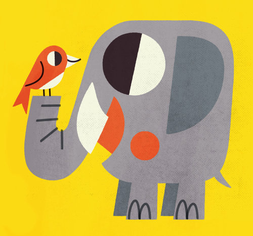 Elephant and bird graphic art