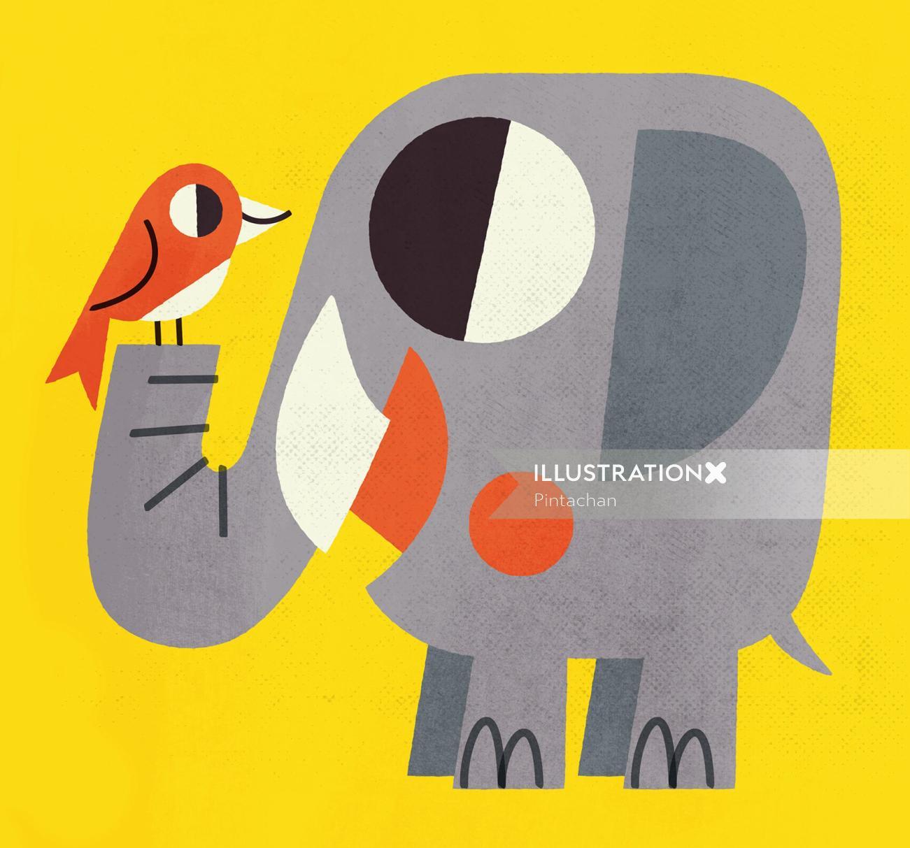 Elephant and bird graphic art