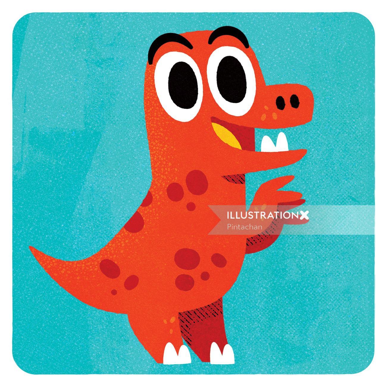 Red Dinosaur illustration by Pintachan