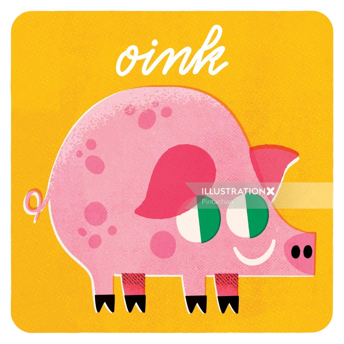 Pink pig digital art