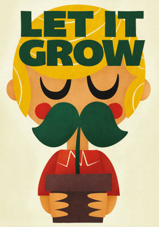 Let it grow lettering with mustache man