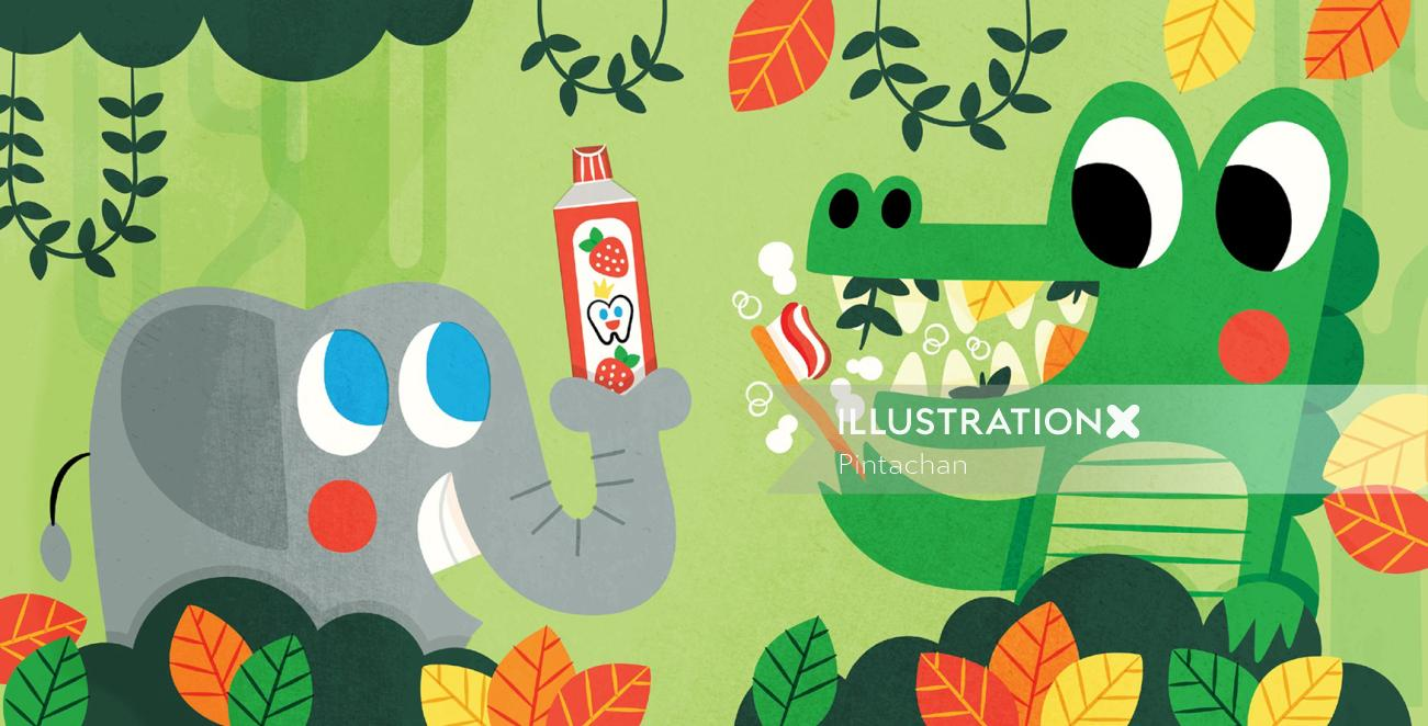 Cute elephant illustration for kids