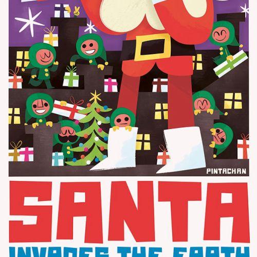 Santa illustration at Christmas
