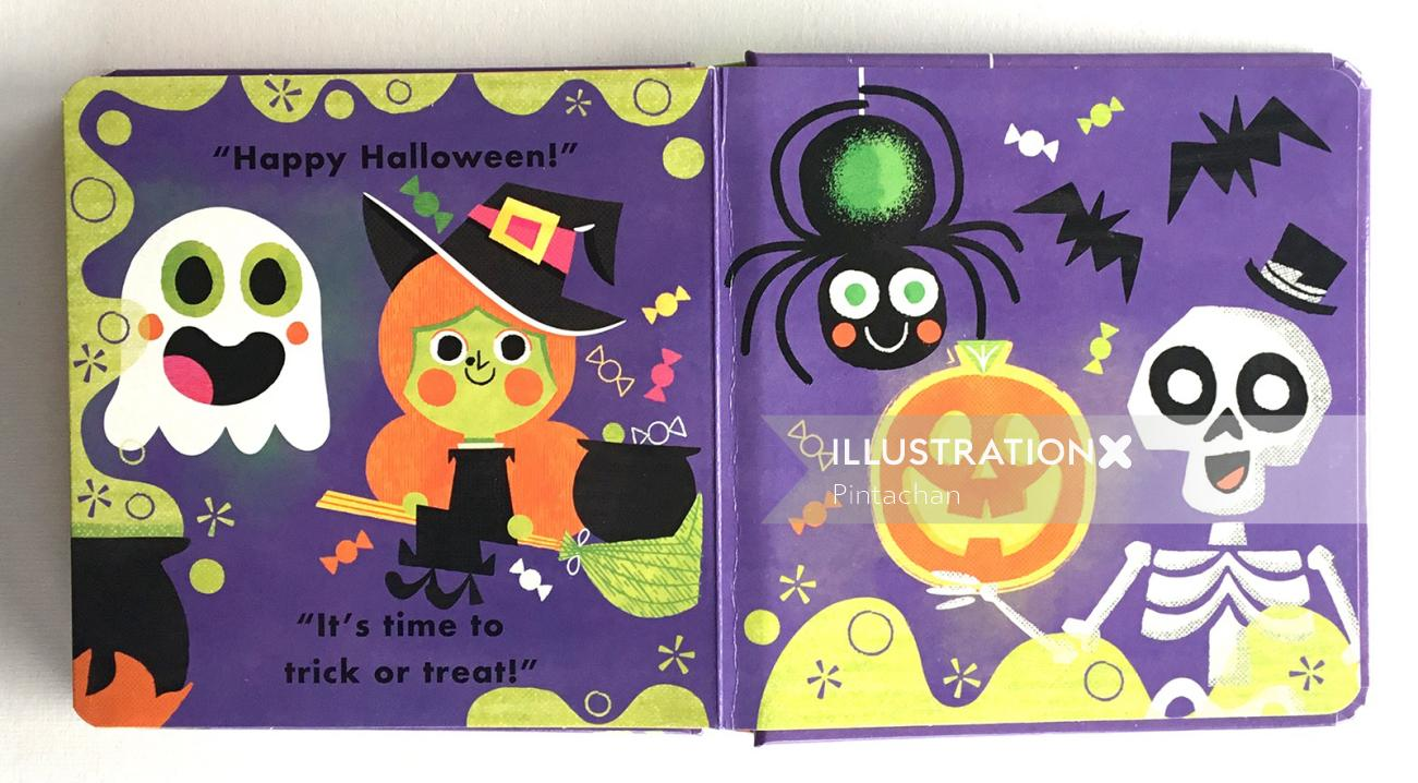 Book cover for Halloween illustrated by Pintachan