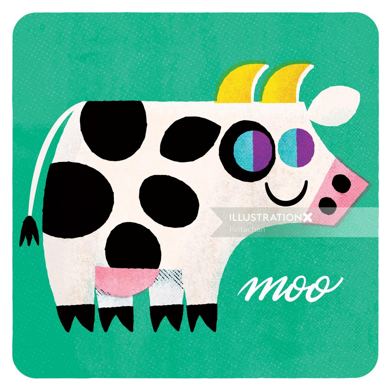 Illustration of a cartoon cow