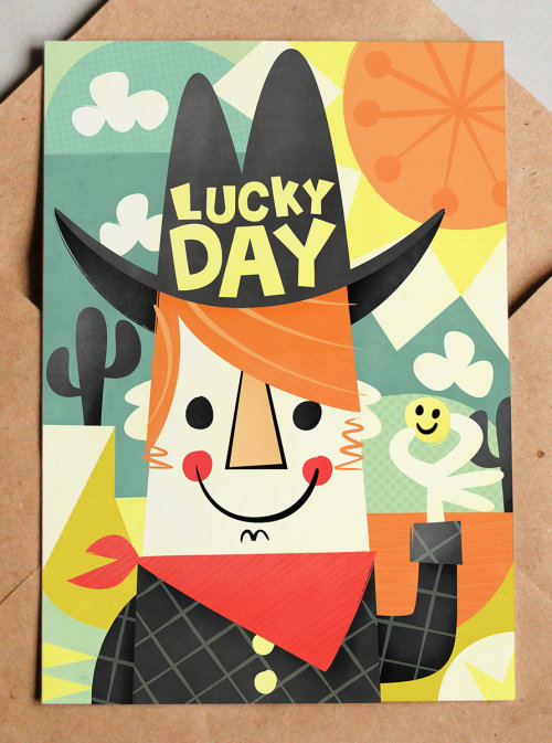 Lucky Day retro character design