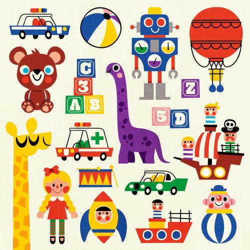 Children's toys icon illustration