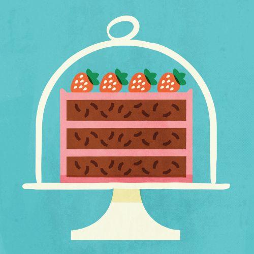 Strawberry cake graphic design