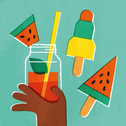 Pop art of watermelon juice