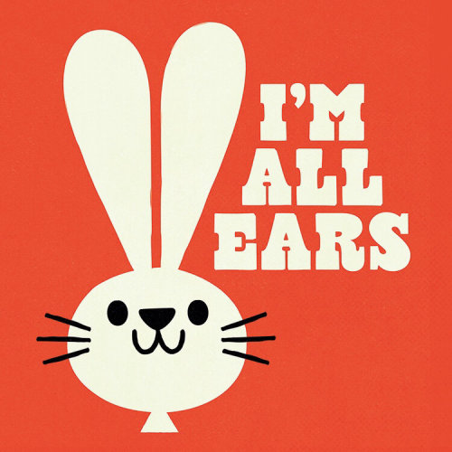 Lettering illustration of I'M ALL EARS