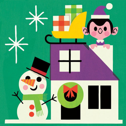 Decorative Christmas house by Child and Snowman