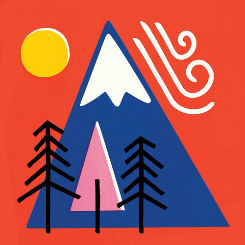 Abstract illustration Mountain with Sun and Trees