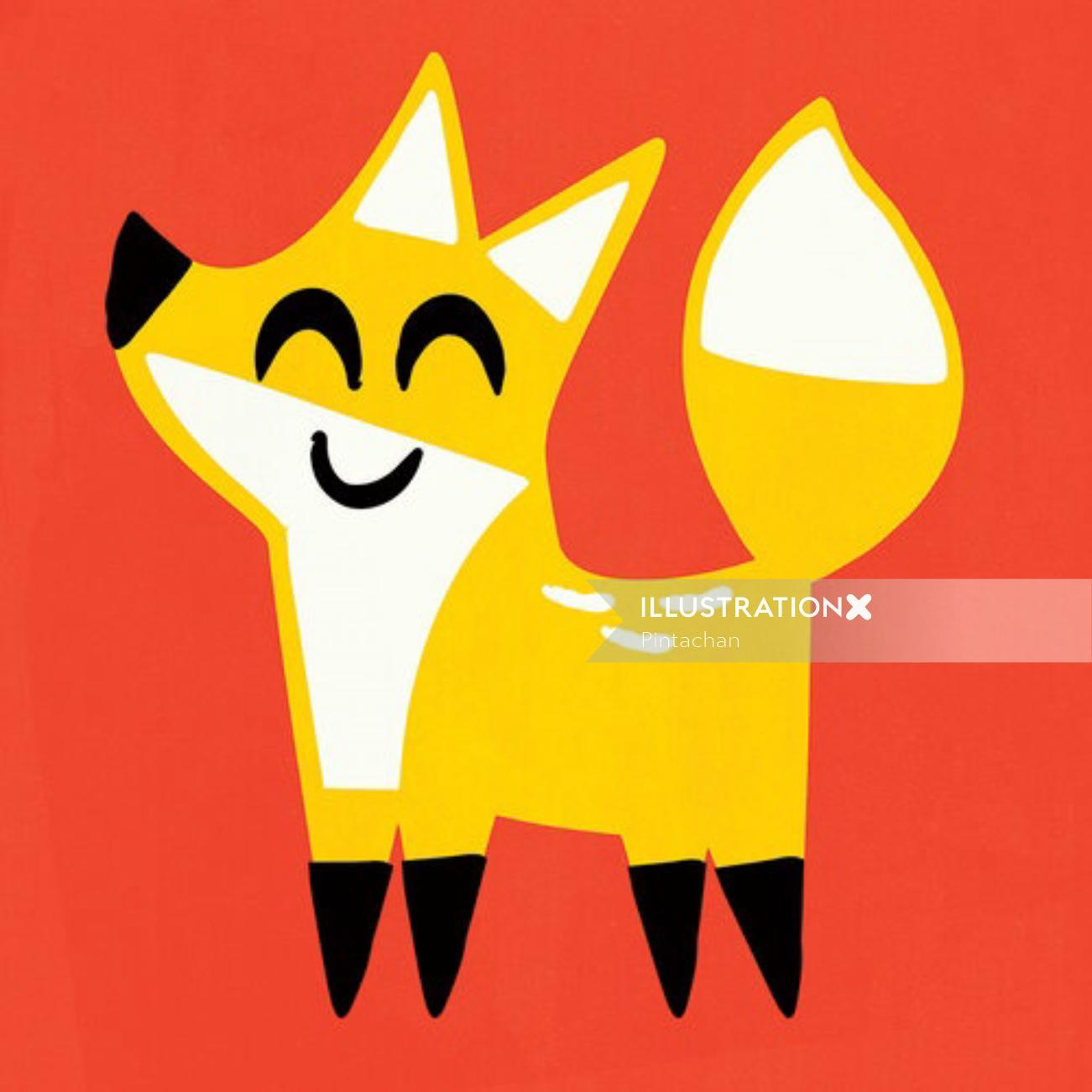 Graphical design of cute smiling Fox