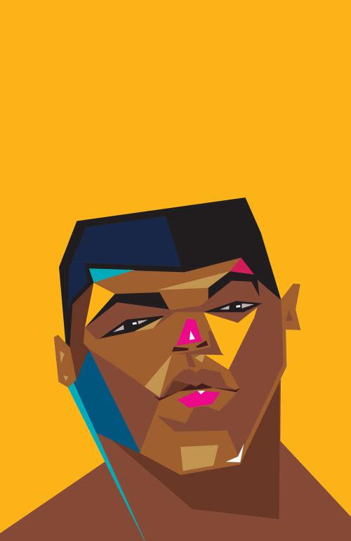 Retrato vetorial de Muhammad Ali