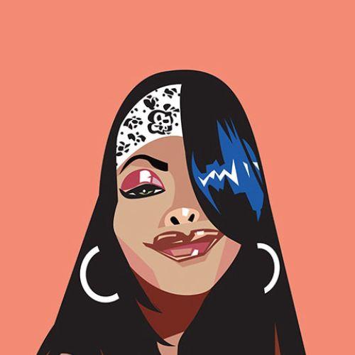 Aaliyah Dana Haughton vector portrait