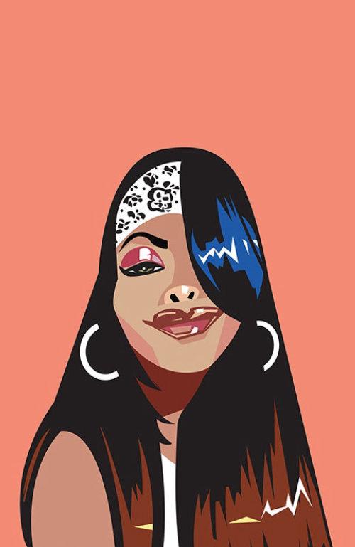 Aaliyah Dana Haughton矢量肖像